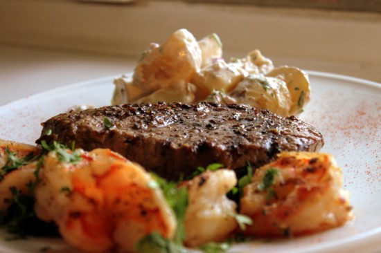 Surf 'n Turf – Tigerrejer og New York Strips