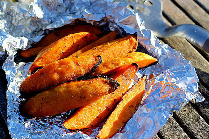 Bagte sweet potatos on the side...