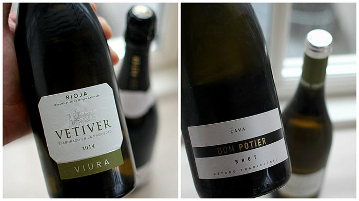 Hvid Rioja på 100 % Viura og en glimrende Cava - begge dele fungerer upåklageligt...