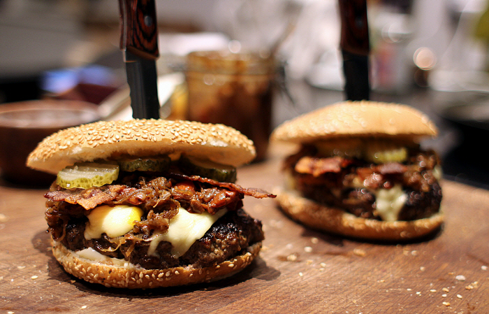 Bison Burger - Sugar Coated Bacon - Bourbon Glazed Onions...
